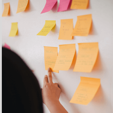 post it notes on white board